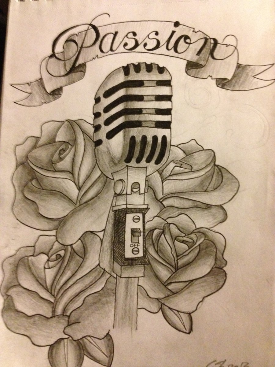 900x1200 Vintage Microphone Tattoo Drawing Old School Cake Tattoos