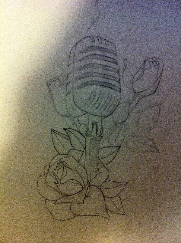 600x803 Microphone Tattoo Sketch Wip By Carlhenrik