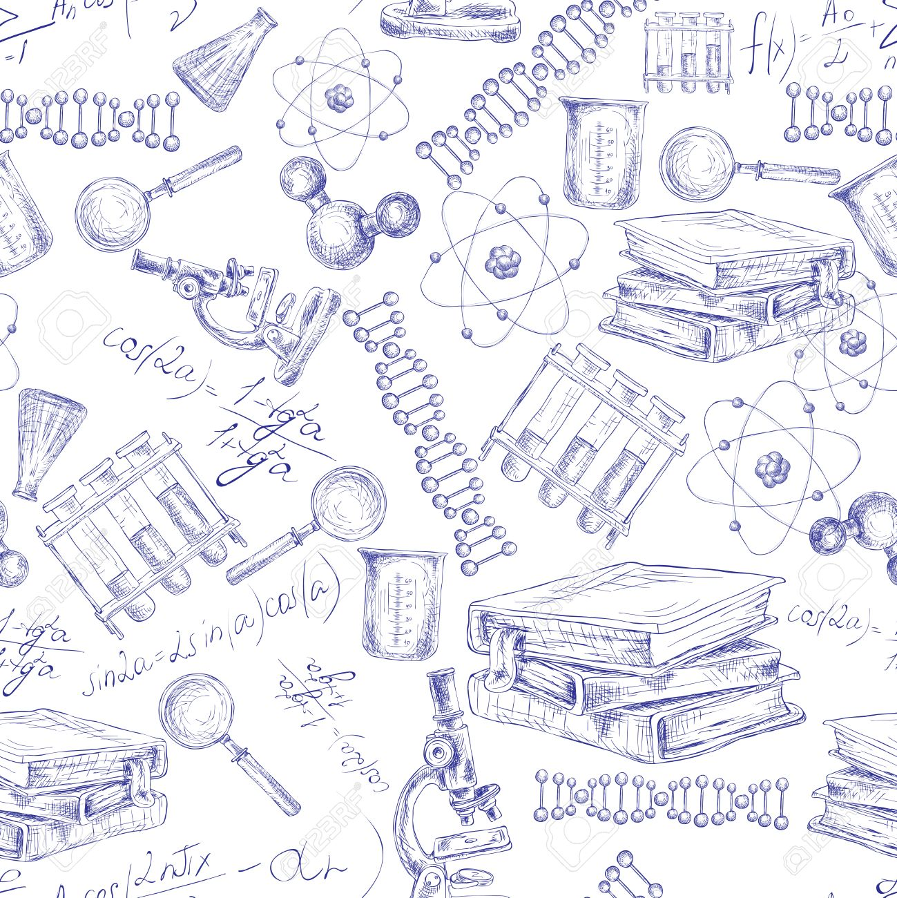 1299x1300 Science Sketch Seamless Pattern With Microscope Flask Atom Dna
