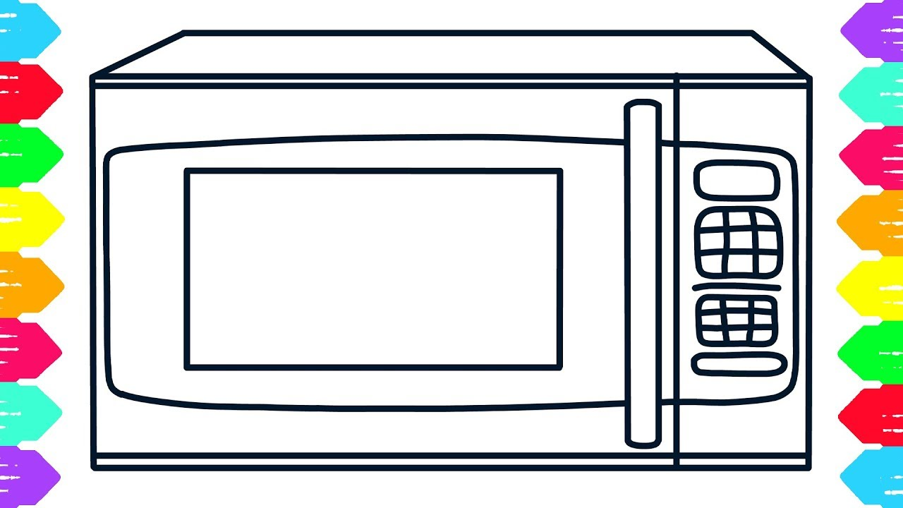 1280x720 How To Draw Microwave Coloring Pages L Kids Learn Drawing L Art