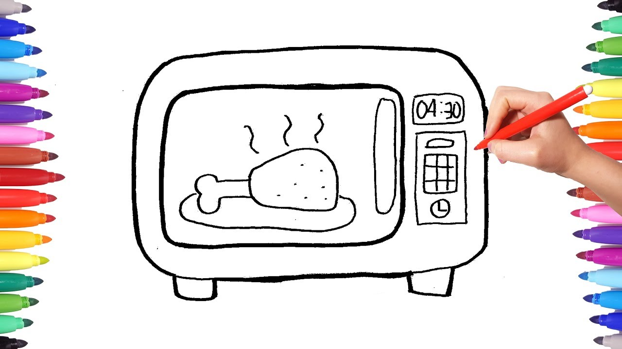 1280x720 How To Draw A Microwave Oven Drawing And Coloring Kitchen Home
