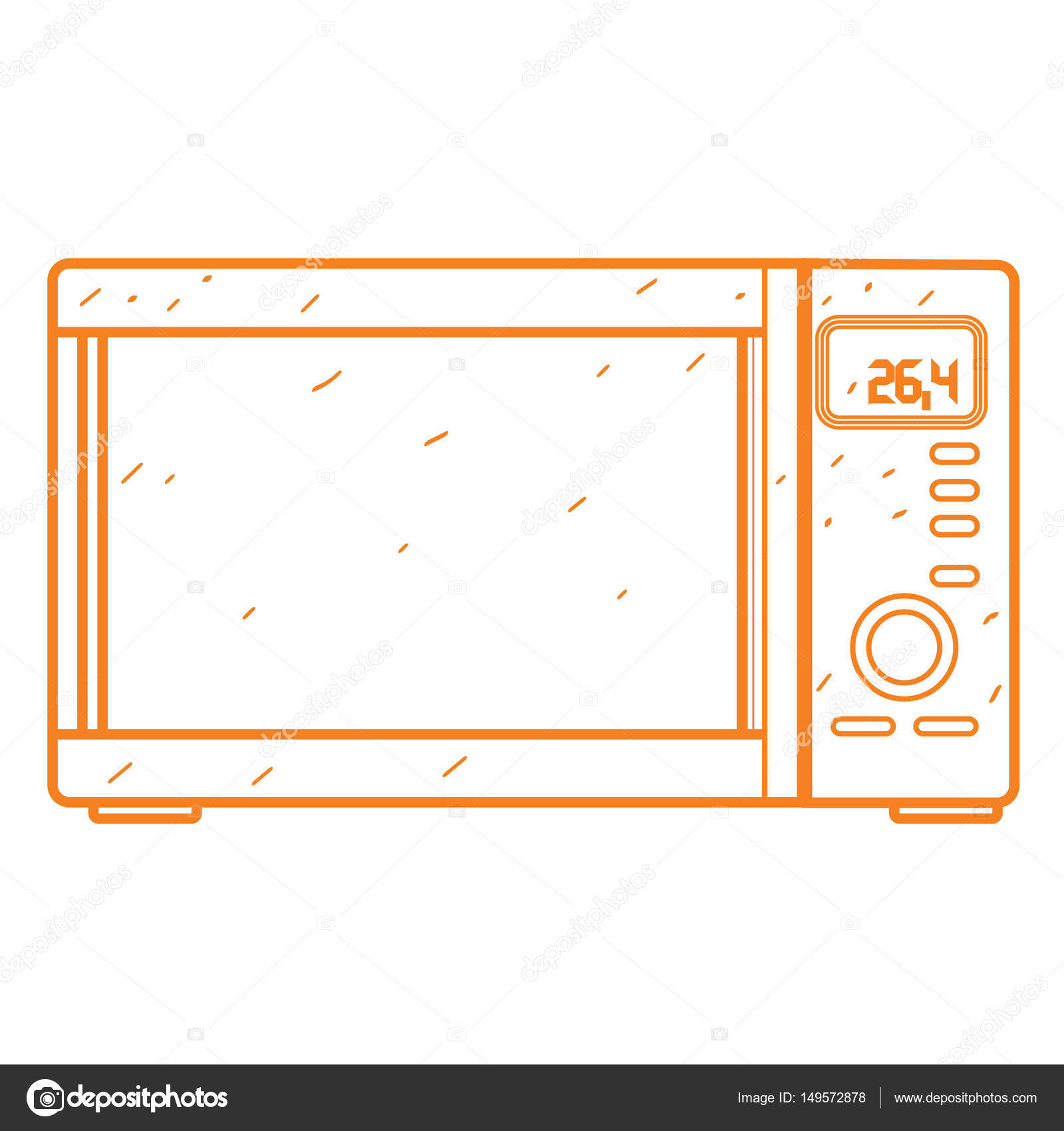 1600x1700 Microwave Icon Outline Drawing. Stock Vector Filkusto