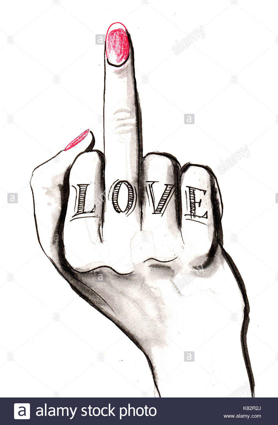 909x1390 Middle Finger With A Love Tattoo Stock Photo 159872570