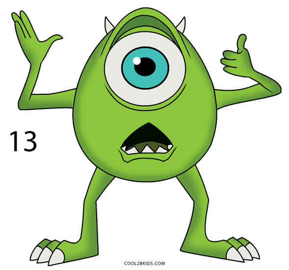 589x550 How To Draw Mike Wazowski (Step By Step Pictures) Cool2bkids