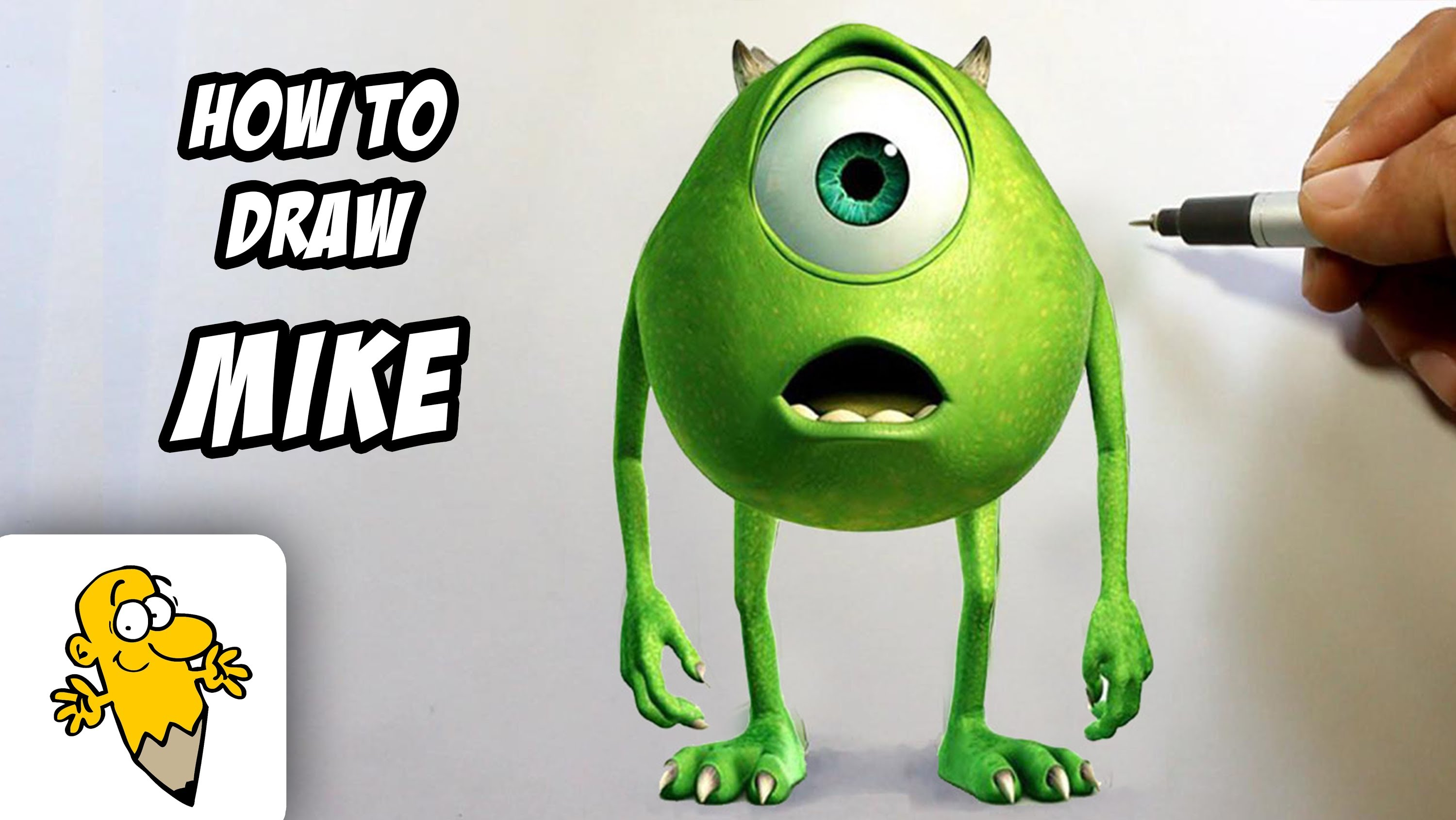 3000x1688 How To Draw Mike Wazowski In 3d [Monster University] Drawing