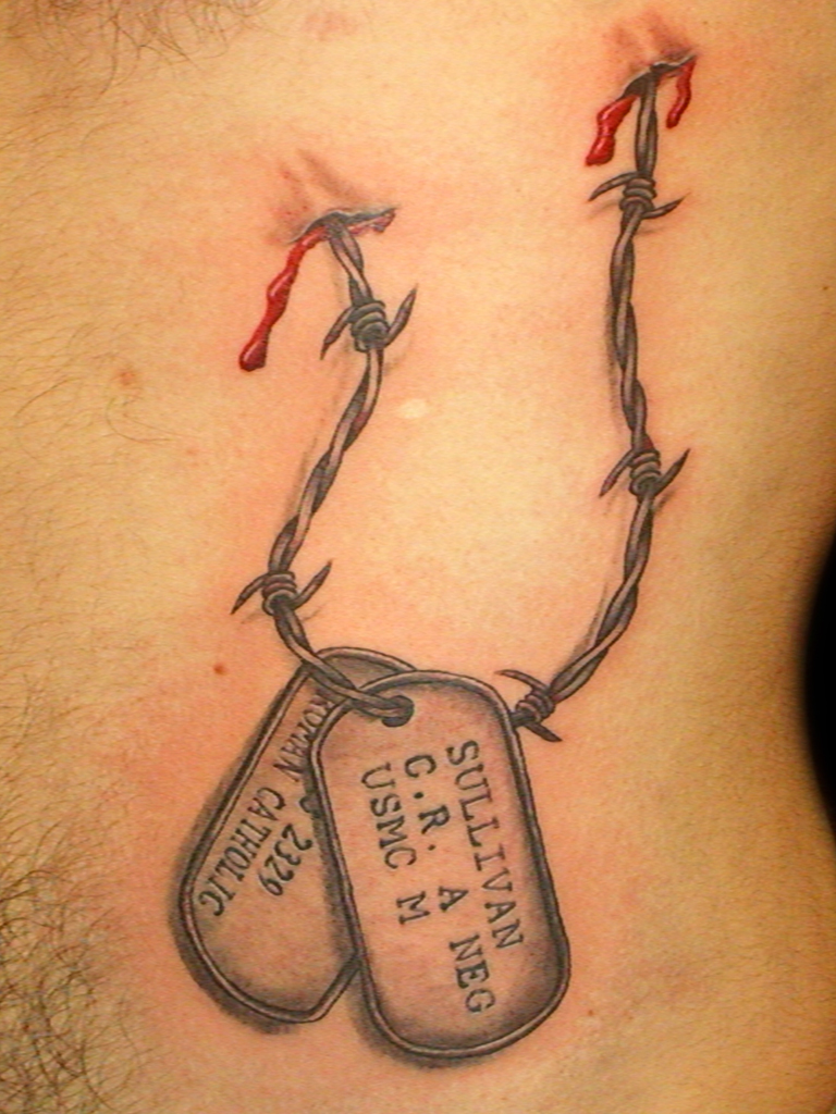 768x1024 Military Dog Tags Tattoo Picture Real Photo, Pictures, Images
