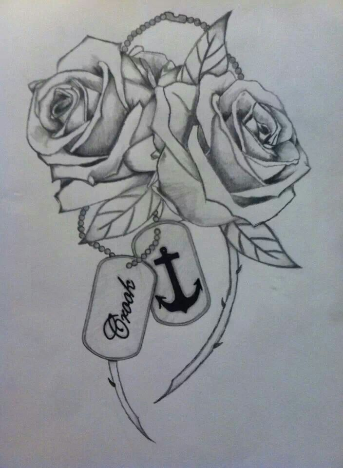 704x960 My Next Tatt I Drew Myself. Two Roses, One For Me And One For My