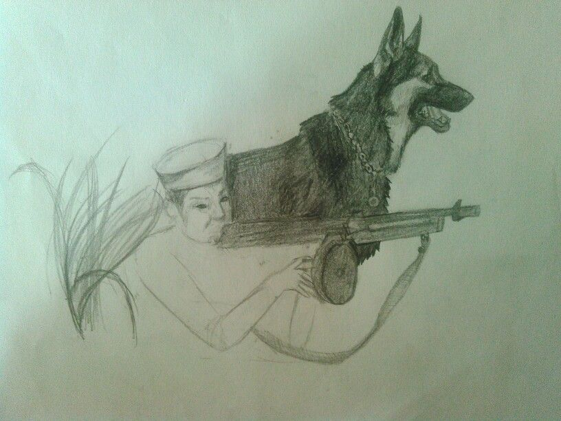 816x612 Soldier And Military Working Dog Drawing By Paz Hernandez Work