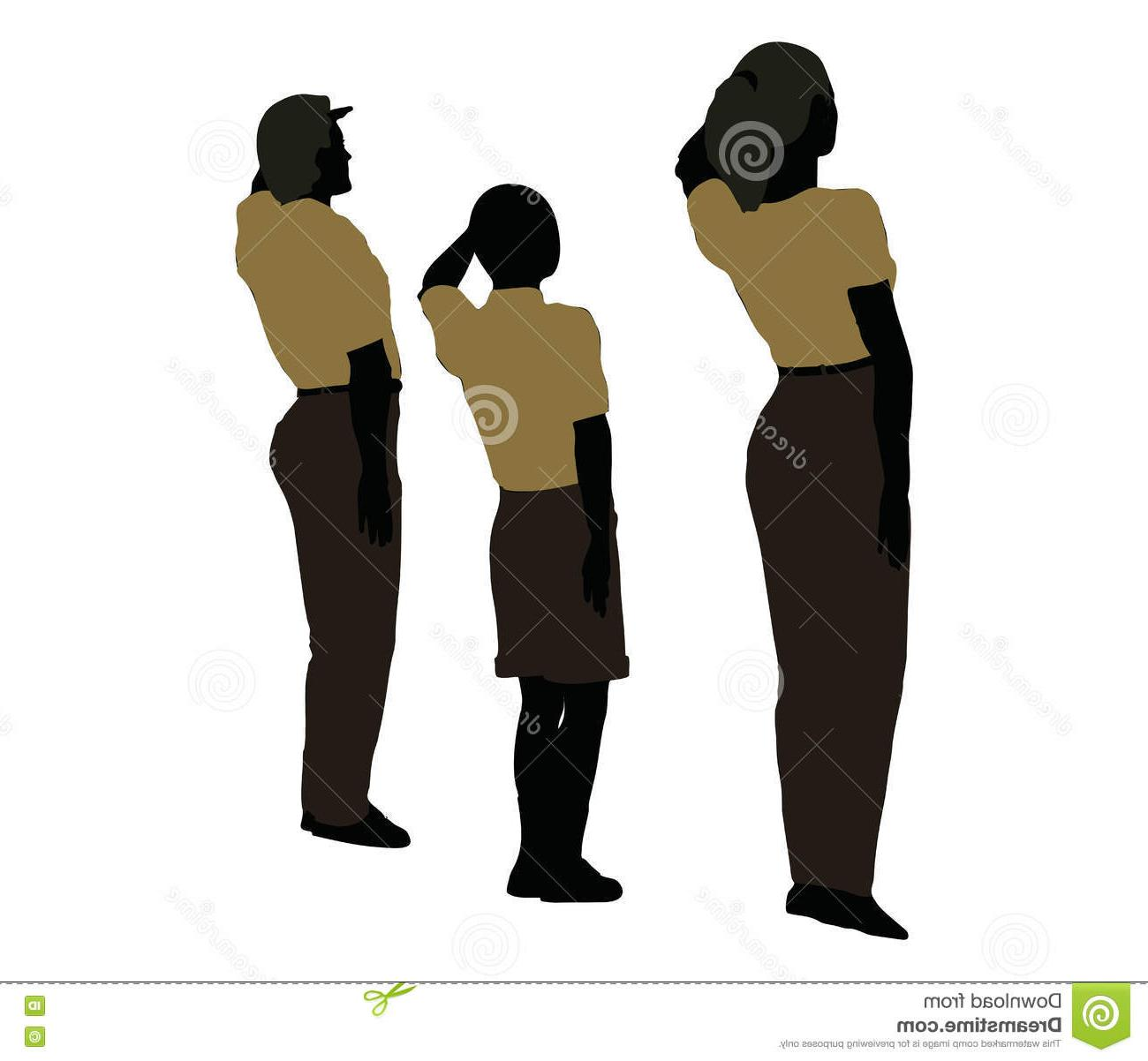 1300x1202 Hd Man Woman Child Silhouette Military Salute Pose Eps Vector