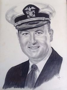 225x300 Vintage Framed Photo Portrait Drawing Navy Military Man Dated 1952