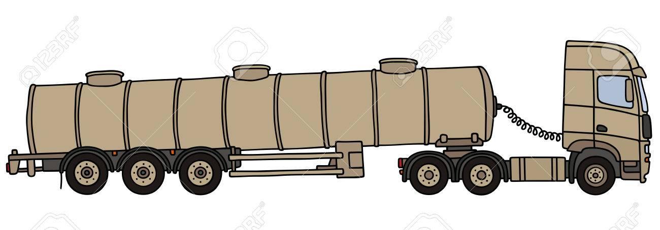 1300x454 Hand Drawing Of A Sand Long Military Tank Semitrailer Royalty Free
