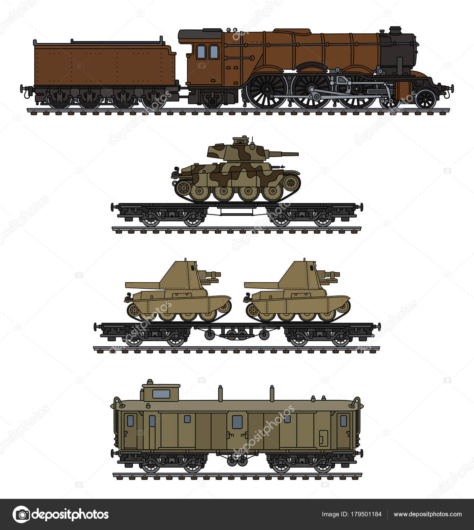 1520x1700 Hand Drawing Vintage Military Steam Train Armored Vehicles Stock