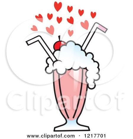 450x470 Clipart Of Hearts Over A Strawberry Milkshake With Two Straws