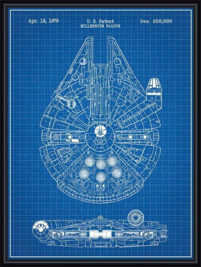 650x863 Star Wars Millenium Falcon Patent Blueprint Poster A4 Star Wars