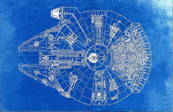 570x371 Star Wars Millennium Falcon Blueprint Art Of The Millennium