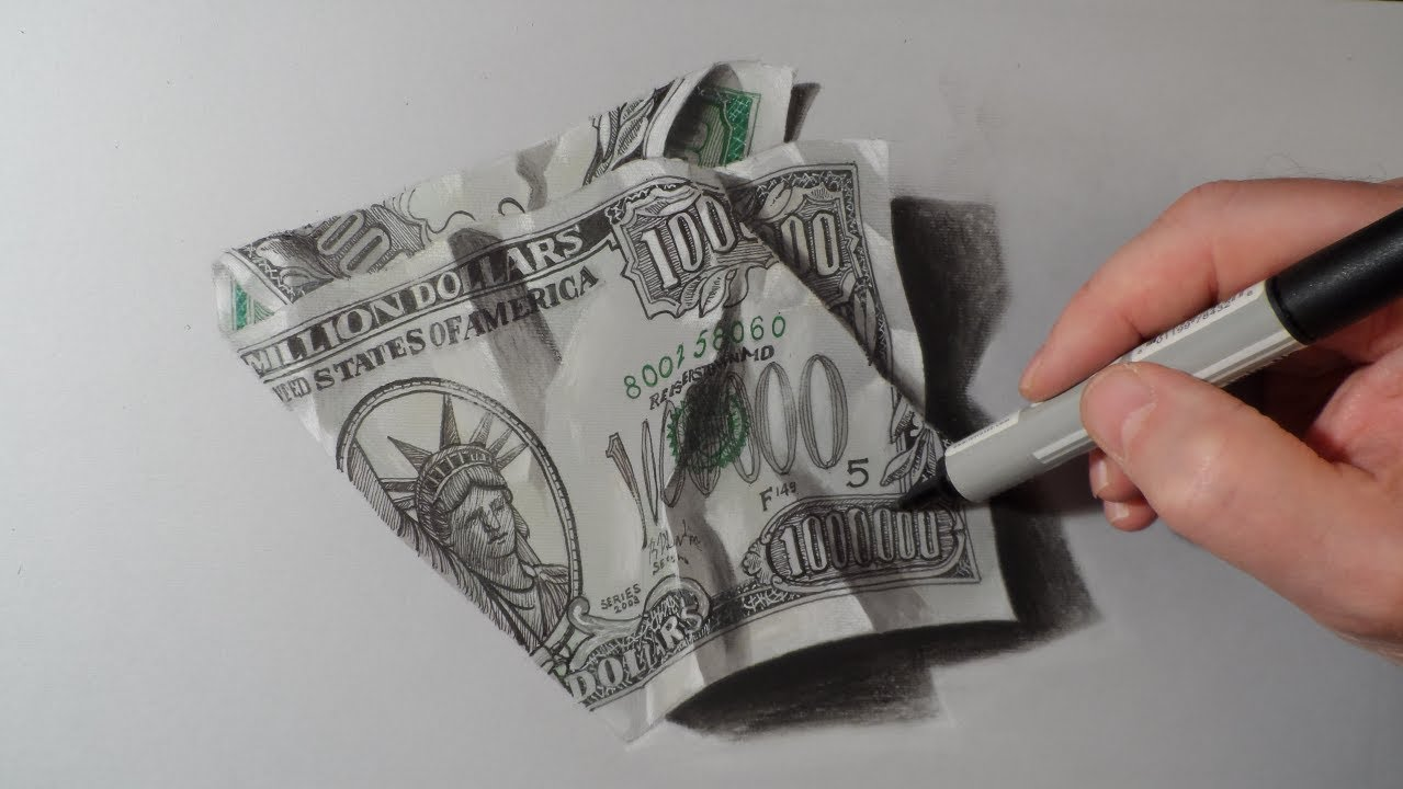 1279x720 How To Draw Dollar One Million Dollars Bill!