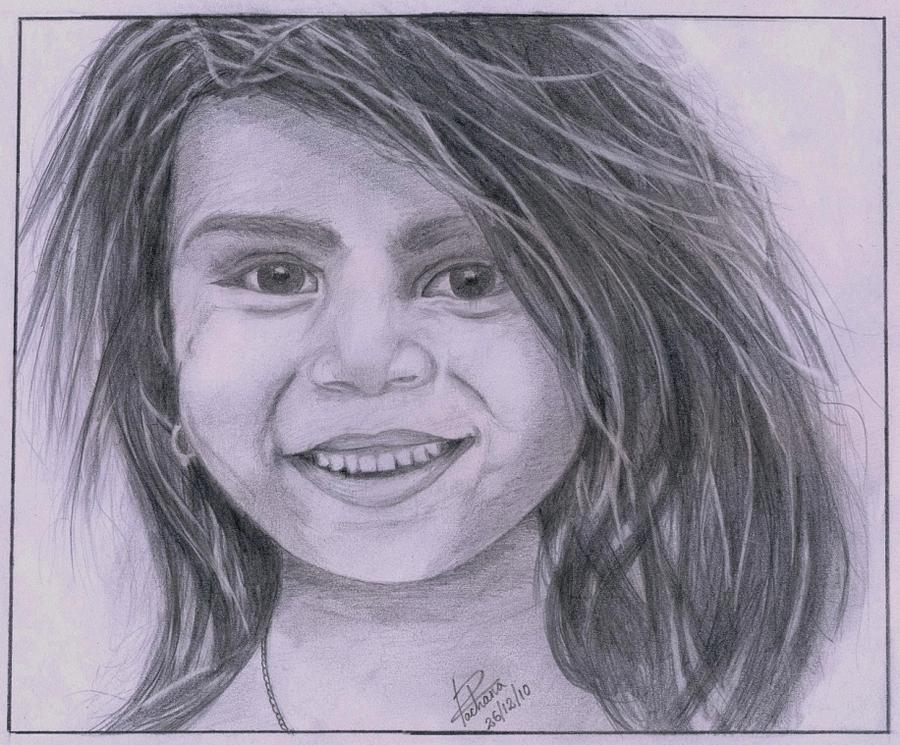 900x745 Poor Girl With Million Dollar Smile Drawing By Rachana Gurung