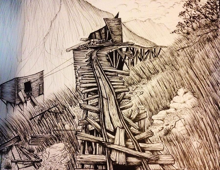 900x695 Abandoned Mine Drawing By Cody King