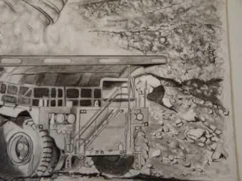 480x360 Coal Mine Shovel And Truck Pencil Drawing