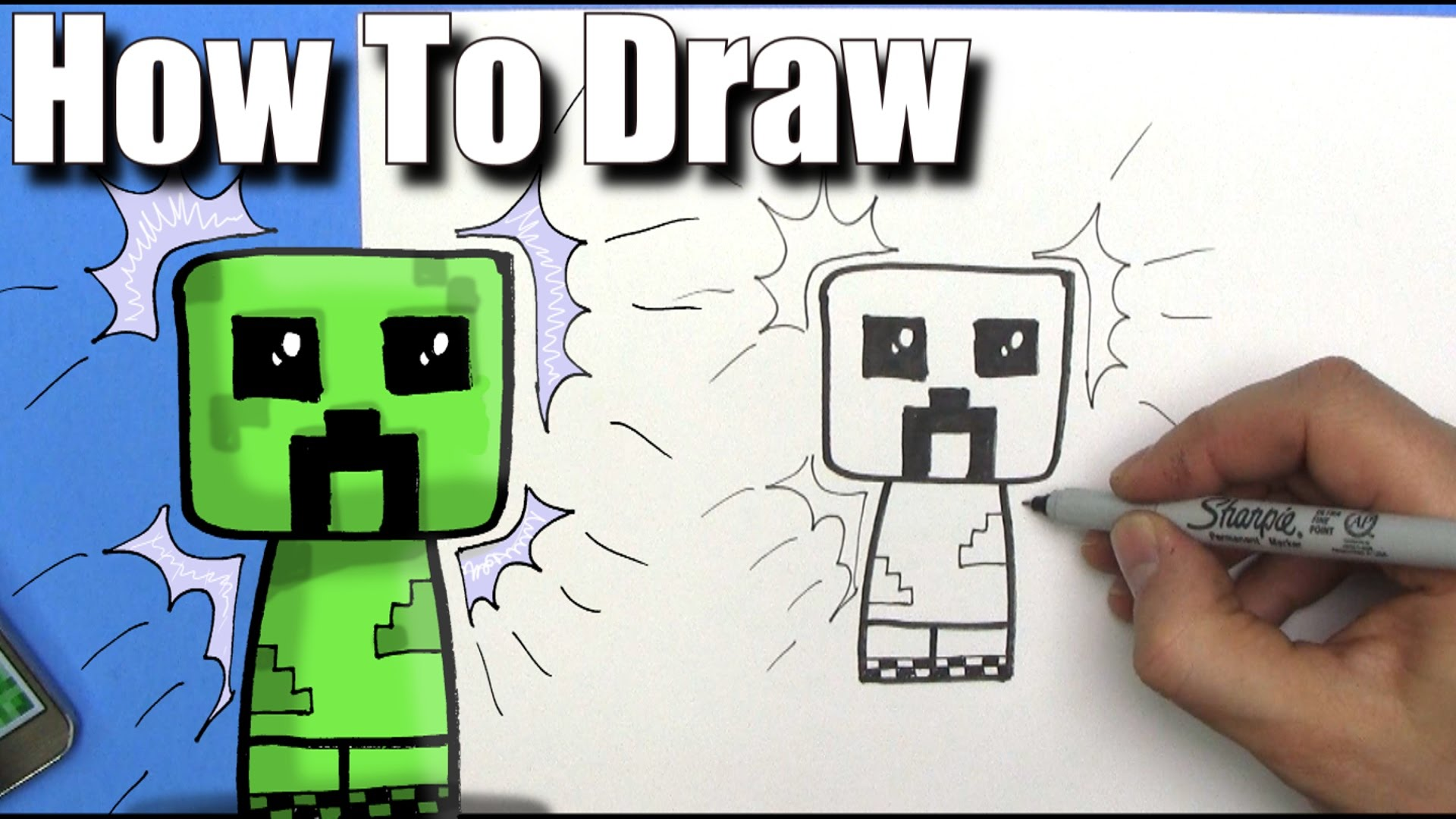1920x1080 How To Draw A Cute Cartoon Minecraft Creeper