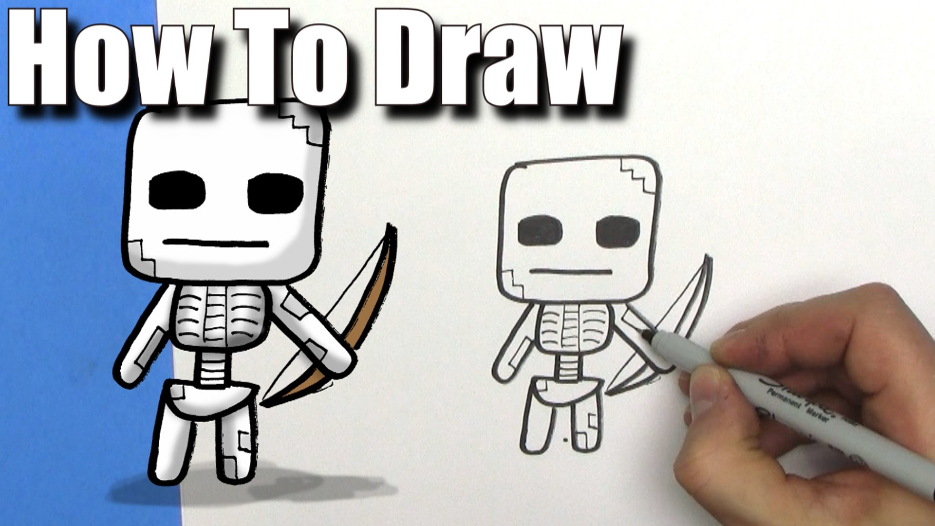 1920x1080 How To Draw A Cute Cartoon Minecraft Skeleton