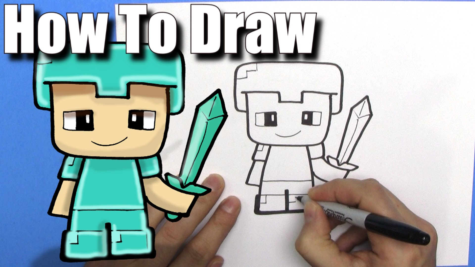 1920x1080 How To Draw A Cute Cartoon Minecraft Steve With Diamond Armour
