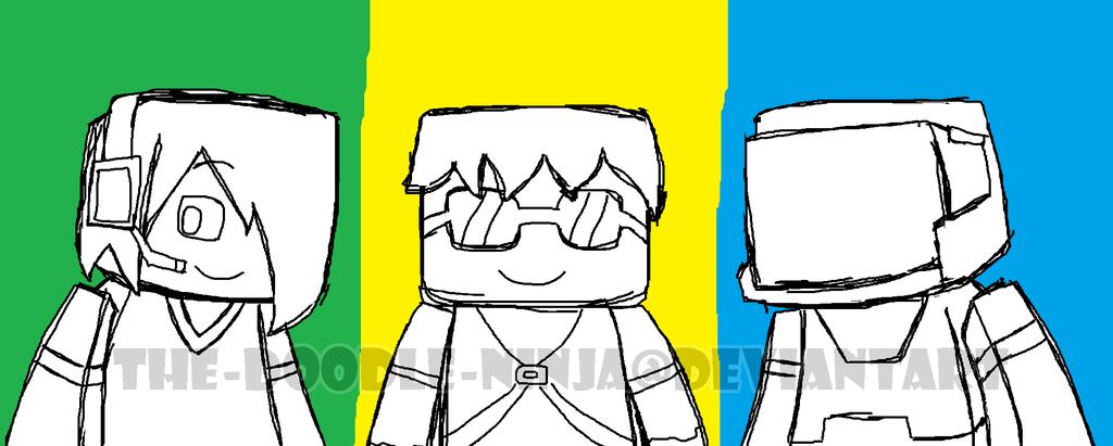 1024x411 Minecraft Trio (Sketch) By The Doodle Ninja