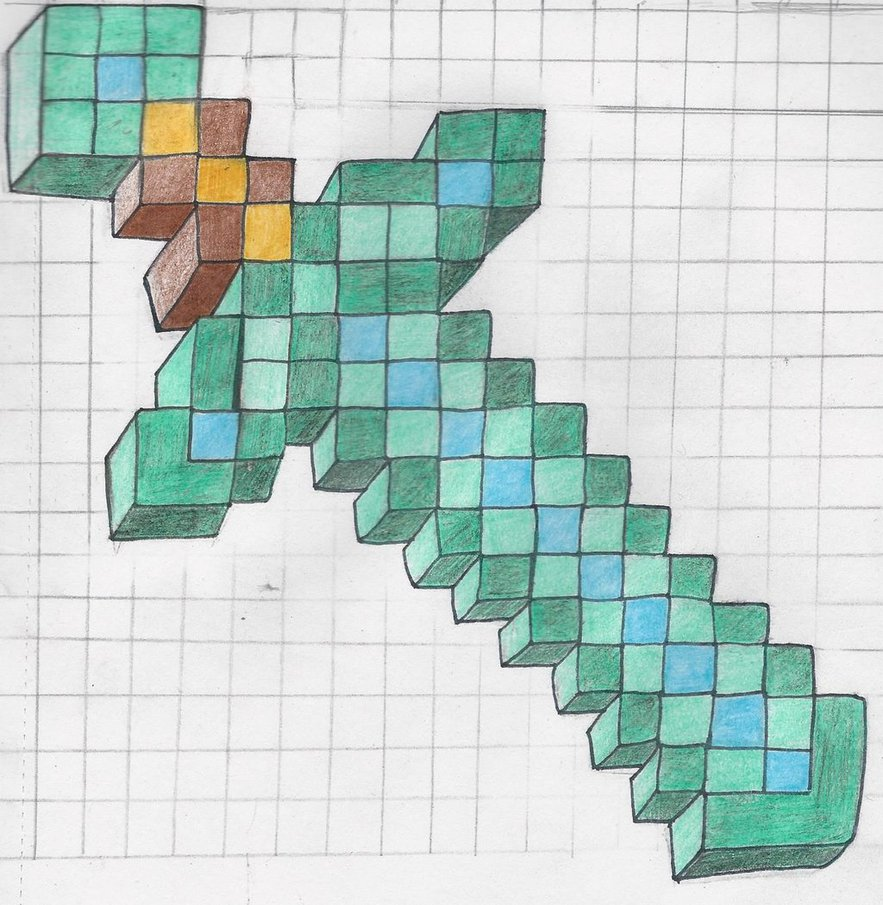 Minecraft Diamond Sword Drawing At Getdrawings Com Free