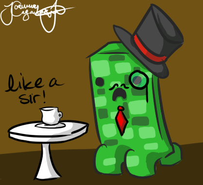 418x381 Minecraft Drawing Sir Creeper By Jojoful7