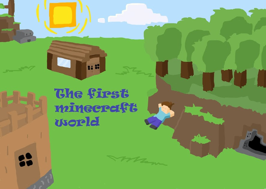 886x630 A Drawing Representing Your First Minecraft World Minecraft