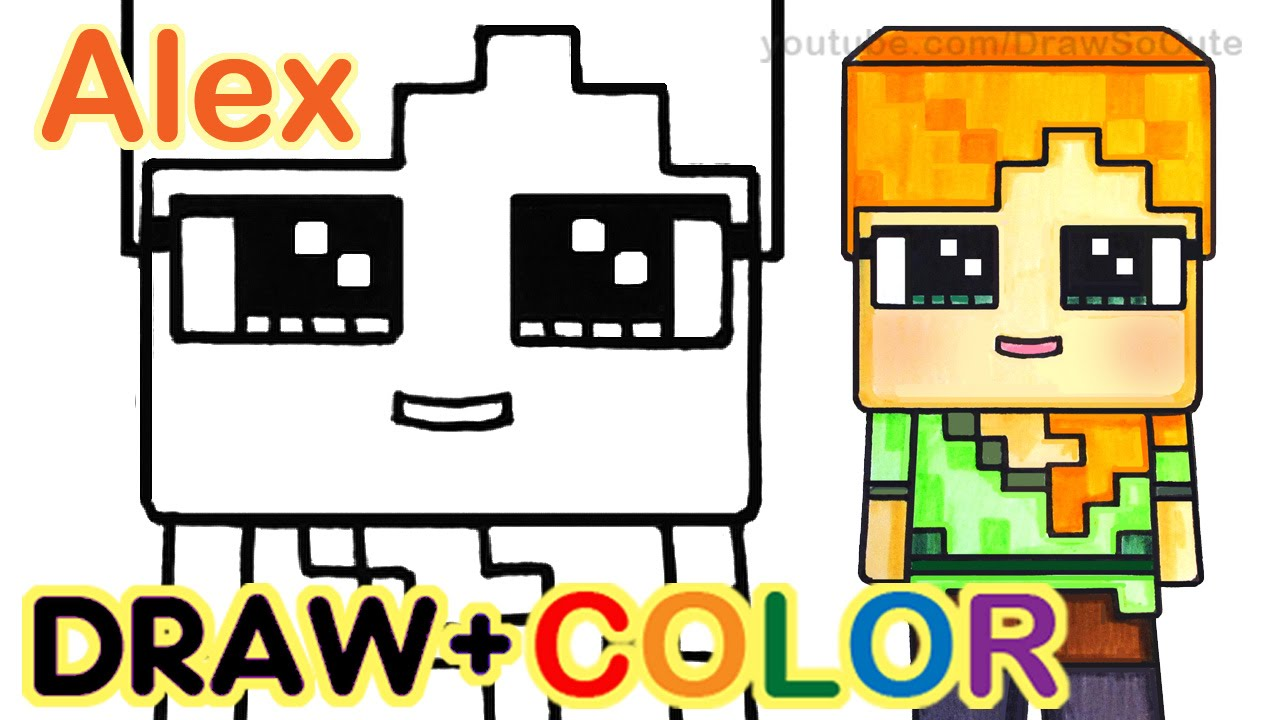 1280x720 How To Draw Minecraft Alex Cute Step By