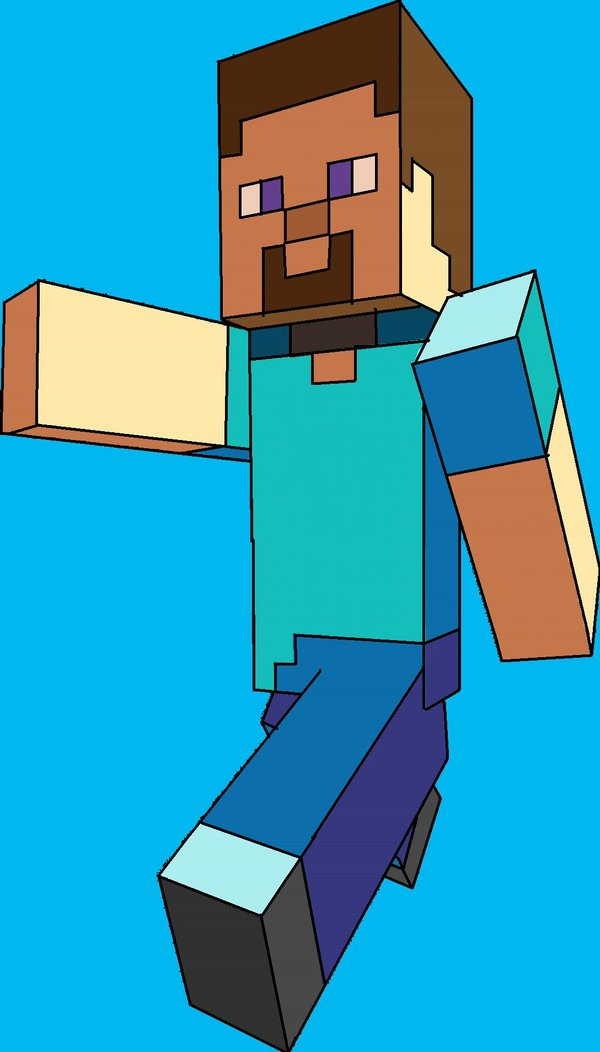 600x1052 minecraft steve computer drawing by damianxenvy on deviantart
