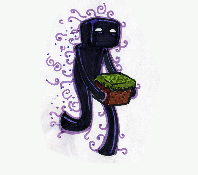 640x564 A Drawing Of An Enderman I Did With Magic Markers.