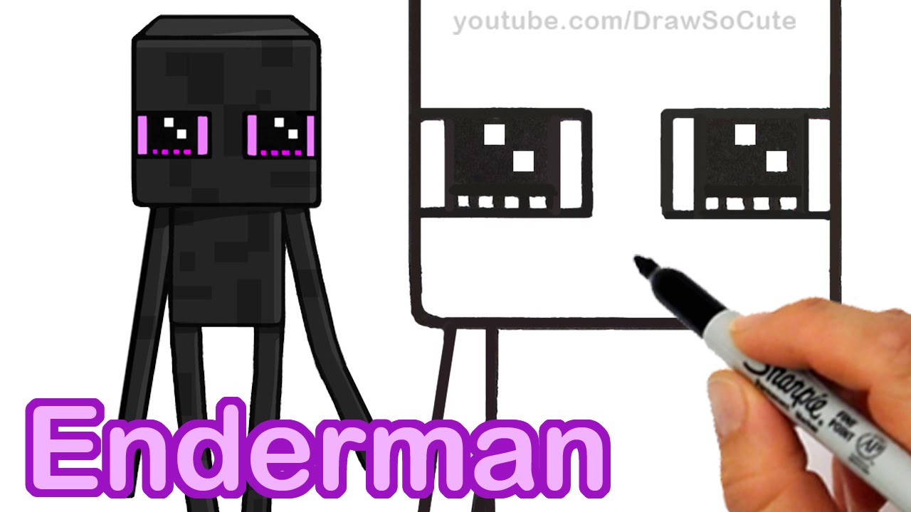 1280x720 How To Draw Minecraft Enderman Cute Step By Step Easy