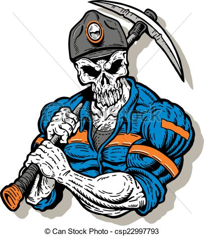 406x470 Coal Miner With Skull Face. Coal Miner With Skull Face And Eps