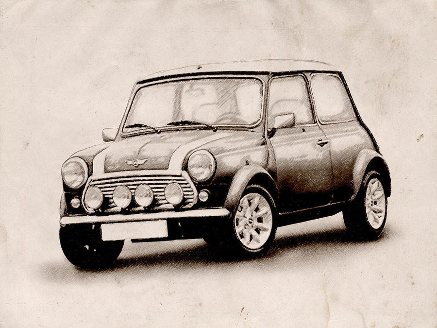 900x675 Mini Cooper Sketch Digital Art By Michael Tompsett