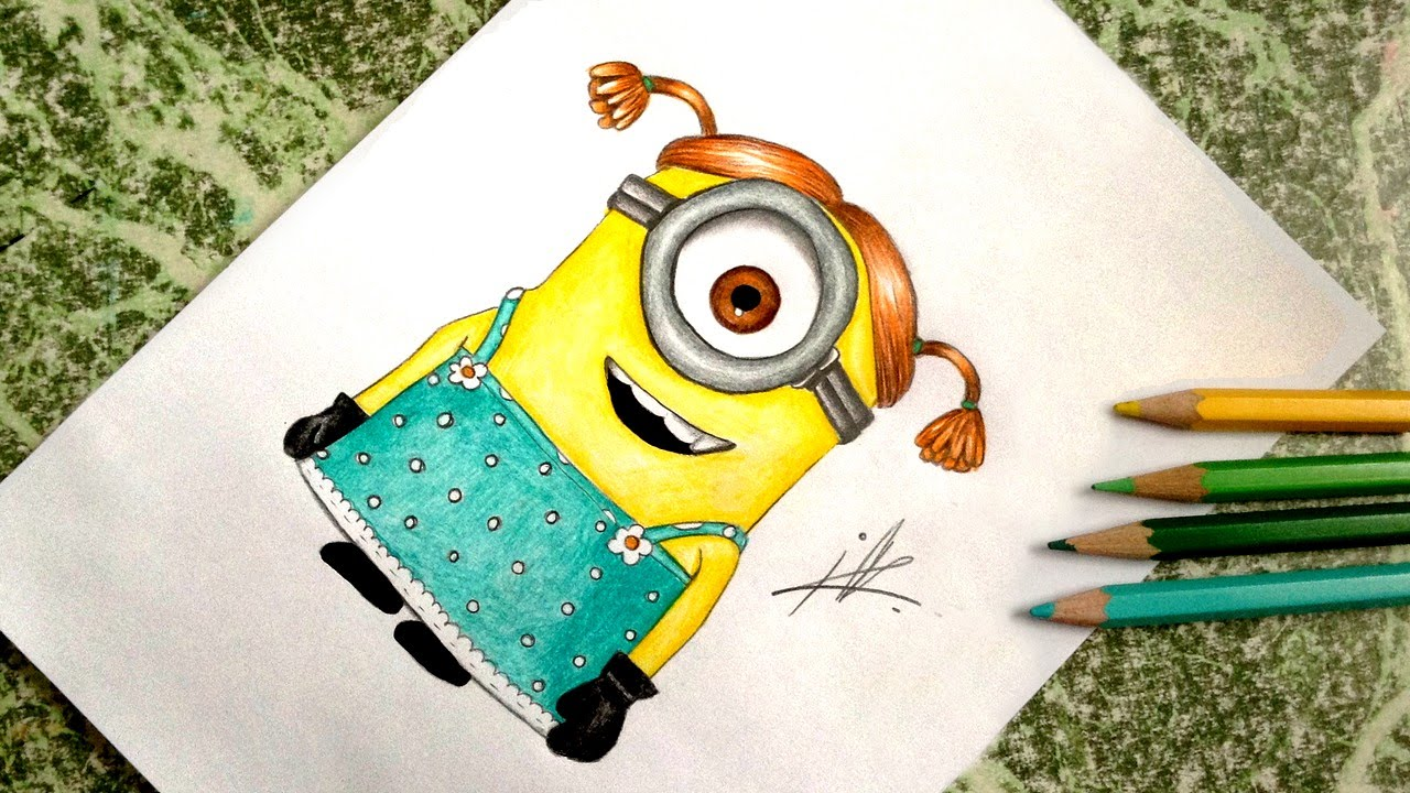 1280x720 Drawing A Minion Girl From Despicable Me 2