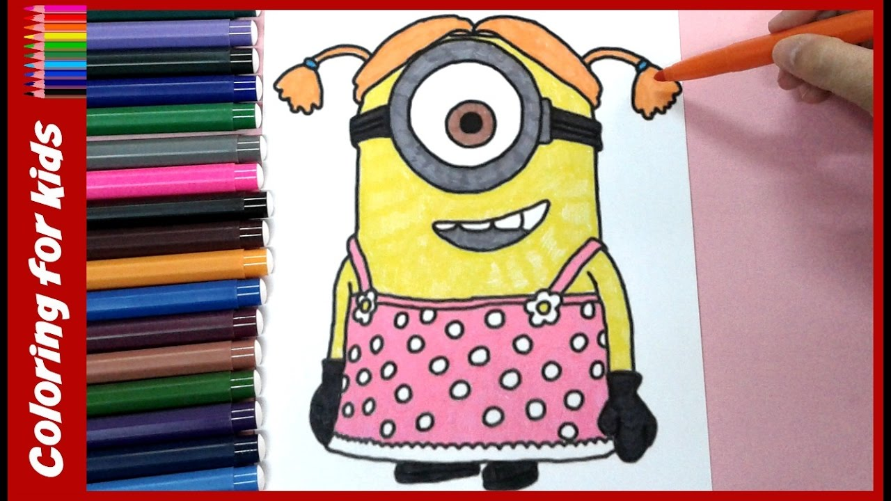 1280x720 Minion Girl Coloring Book Pages For Children Coloring Tutorial