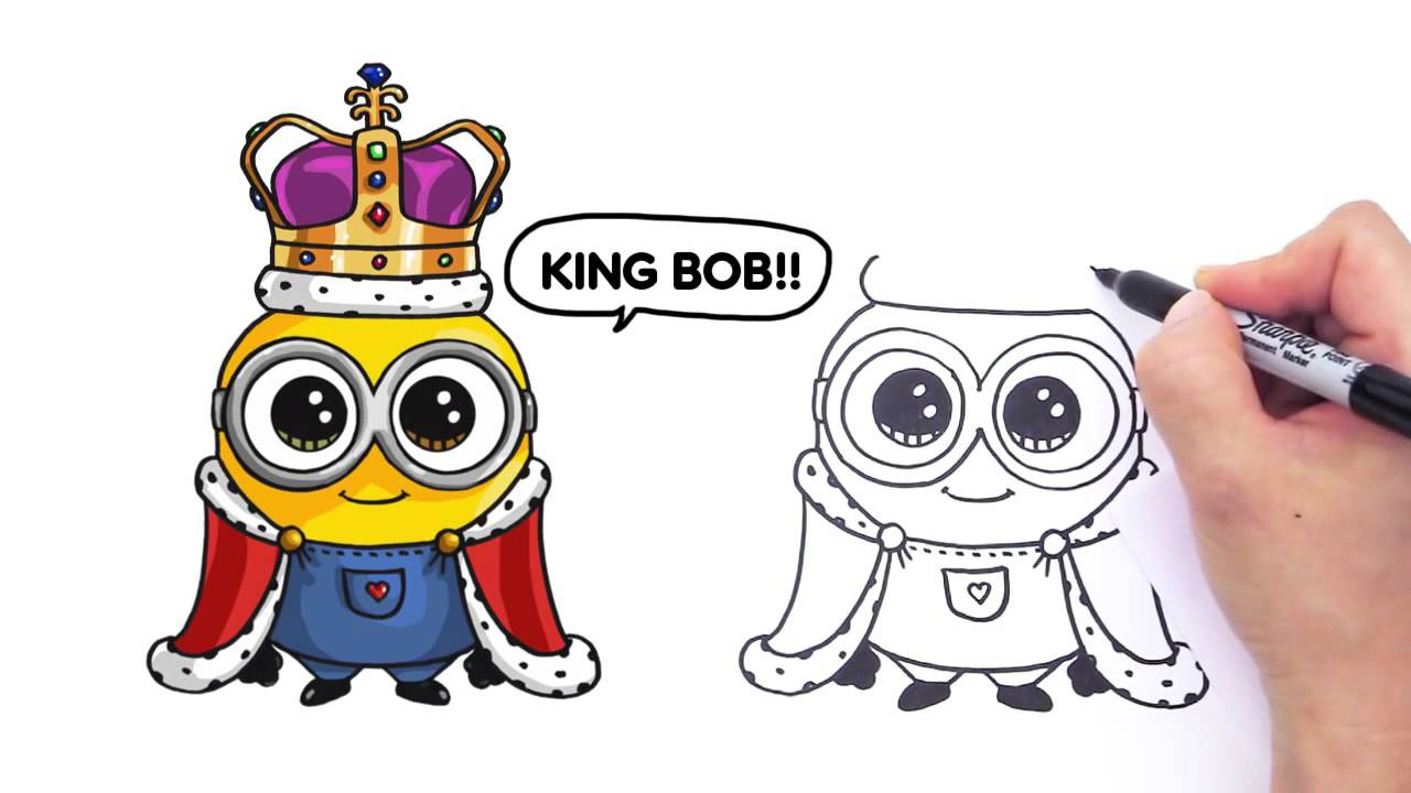 1280x720 How To Draw Minion King Bob Cute Step By Step