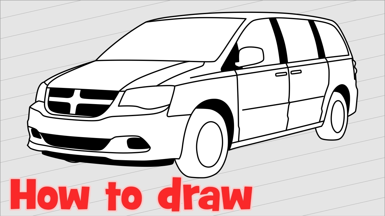 1280x720 How To Draw A Car Dodge Grand Caravan 2017 Step By Step