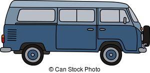 300x147 Isolated Graphic Illustration Of Modern Blue Minivan Vector