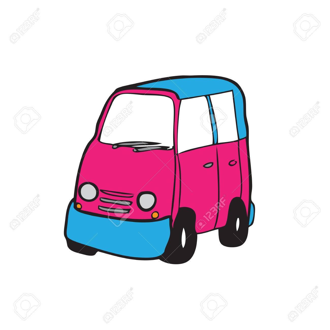 1300x1300 Minivan Cartoon Vector Drawing Pink Royalty Free Cliparts, Vectors