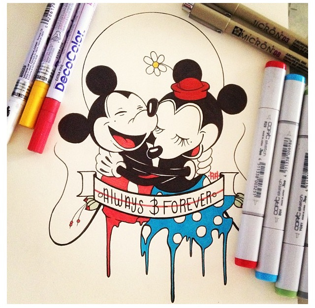 640x626 Cute Mickey And Minnie Mouse Drawing Disney Minnie