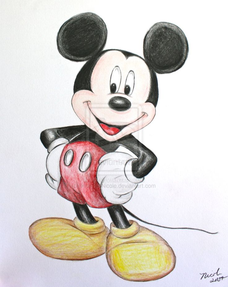 736x927 Drawn Pencil Mickey Mouse