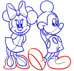 302x291 How to draw how to draw mickey and minnie
