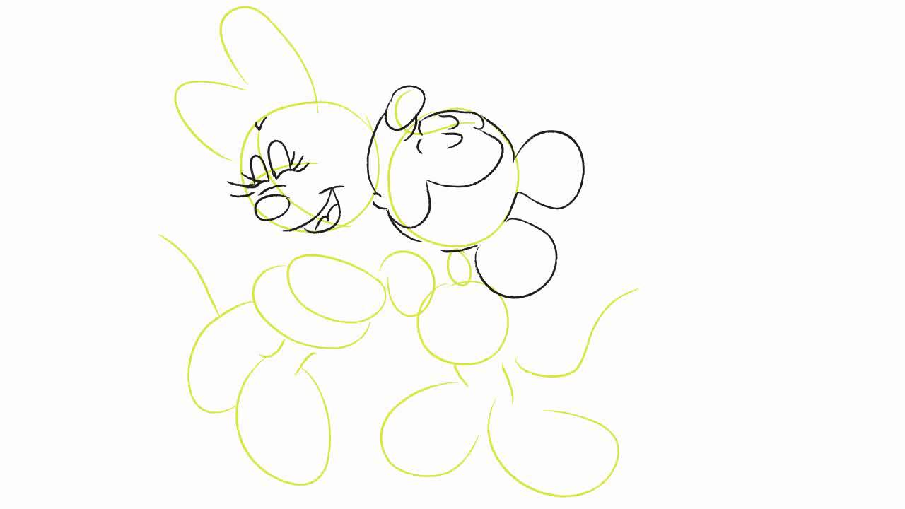 1280x720 How to Draw Mickey and Minnie Kissing Drawing Tutorial HD