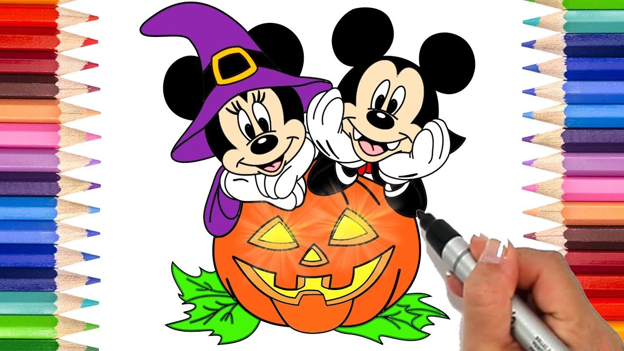 1280x720 How To Draw Mickey And Minnie Mouse Halloween Coloring Pages