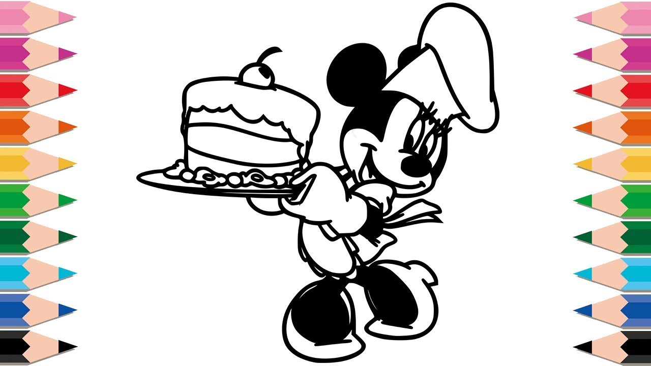 1280x720 How To Draw Minnie Mouse Cooking A Cake For Kids Drawing