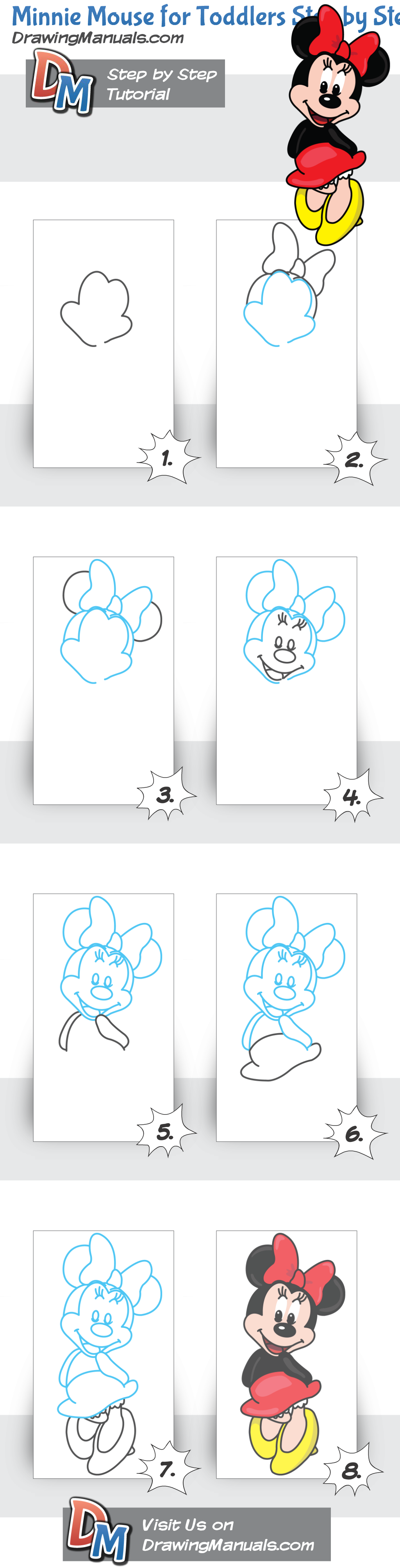 1024x4011 How To Draw Minnie Mouse Step By Step Doodles Amp Drawing