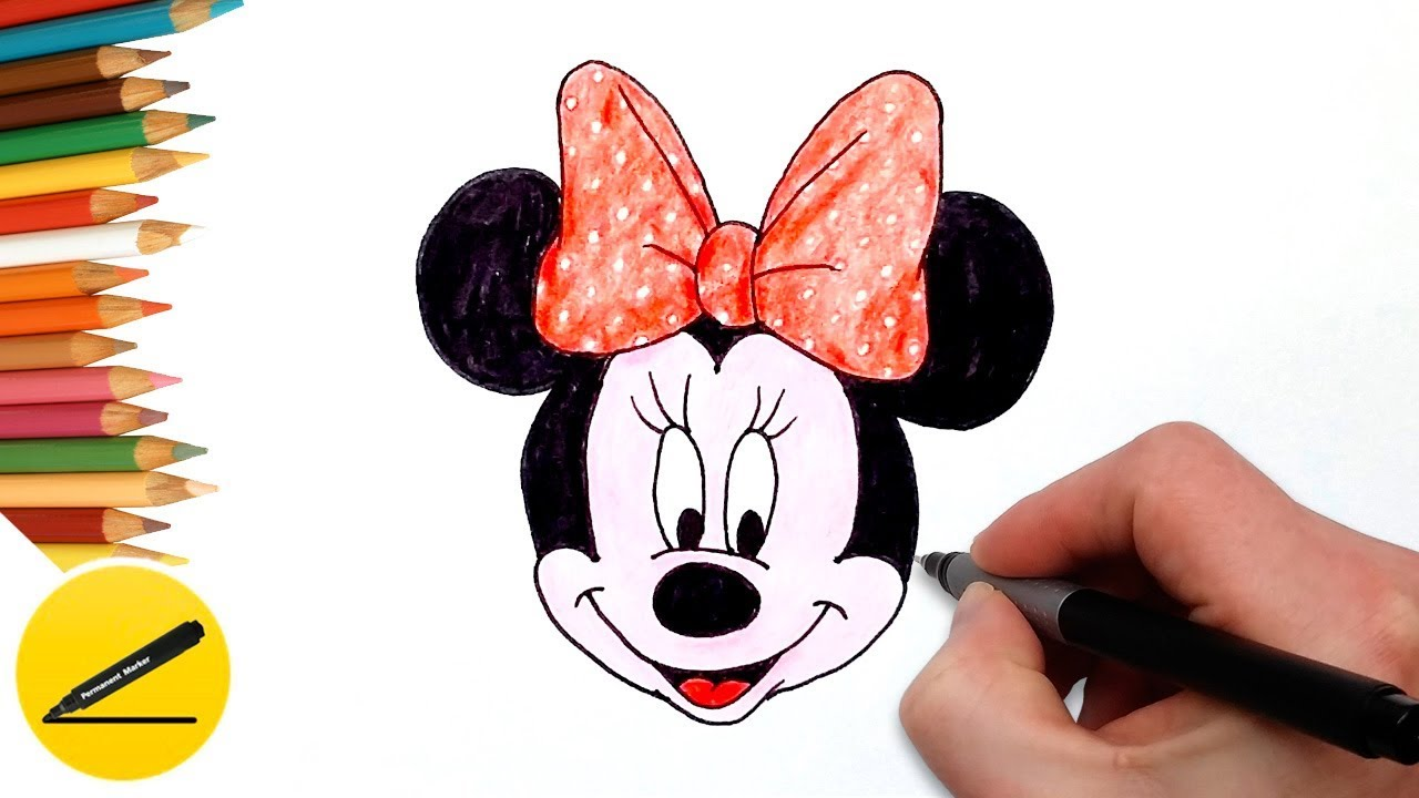 1280x720 How To Draw Minnie Mouse Step By Step Easy And Coloring